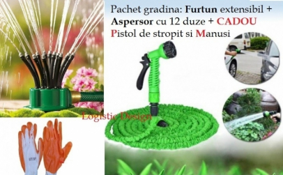 Set furtun extensibil 15 m + aspersor