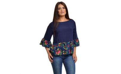 Bluza Dama Peplum Albastra cu Flori