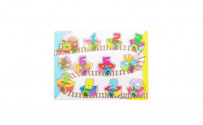 Puzzle, tren din lemn, cu cifre