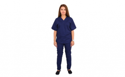 Costum bleumarin cu bluza cu anchior in