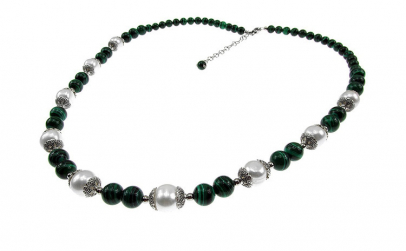 Colier malachit cu perle de cultura