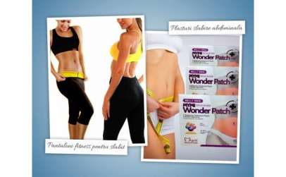 Pantaloni fitness + plasturi slabire