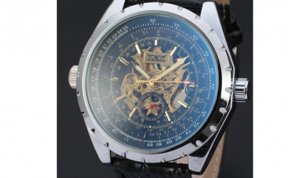 Ceas Automatic Jaragar Black Skeleton