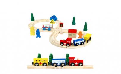 Trenulet cu sina din lemn pentru copii