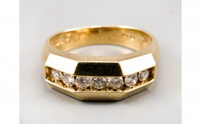 Inel aur galben 14K cu sapte diamante