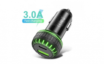 Incarcator Auto Dual   USB 3.0  USB C