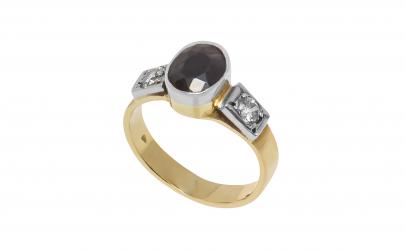 Inel din aur 14K cu safir si diamante
