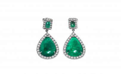 Cercei aur 18K cu smaralde si diamante