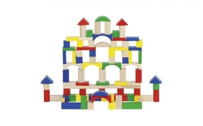 Set de constructie cu 100 cuburi lemn