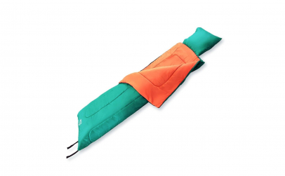 Sac de dormit verde cu portocaliu