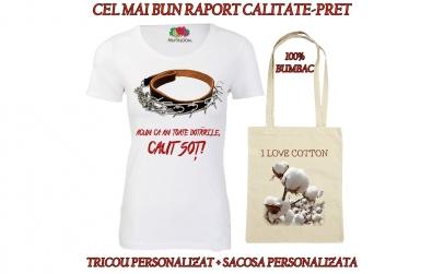 """Tricou personalizat """"Caut sot"""" + sacosa"""