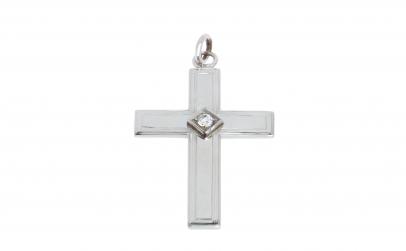 Pandantiv crucifix din aur alb 14K