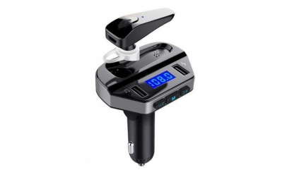 Car Kit Bluetooth Dual USB cu Casca V6