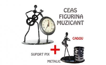 Figurina muzicant cu ceas + suport pix
