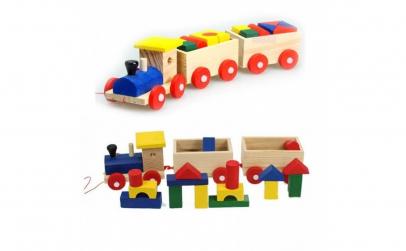 Trenulet din lemn 18 piese