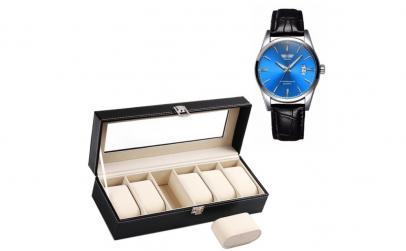 Pachet caseta eleganta + ceas barbatesc