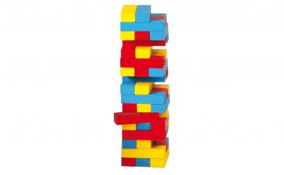Joc turn instabil mini, lemn, multicolor