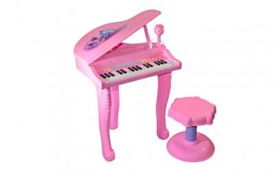 Pian roz cu microfon, scaun, lumini