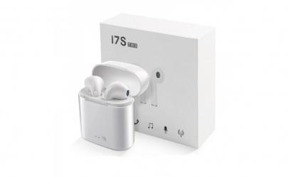 Casti bluetooth wireless I7S TWS albe