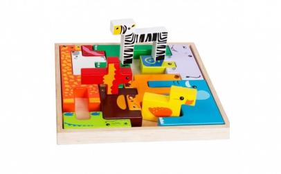 Puzzle lemn 3D Tetris, cu animale