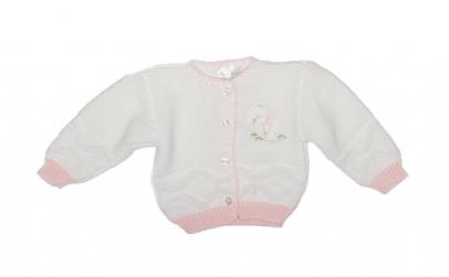 Pulover Baby Nursery, alb/roz, fete, 68
