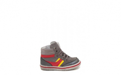 Pantofi copii piele naturala gri-rosu
