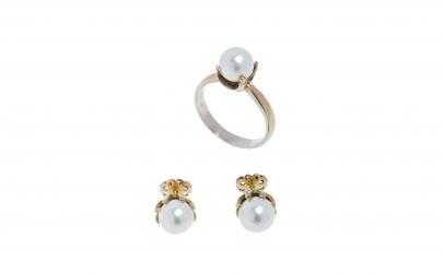 Set din aur alb 18K, cu perle
