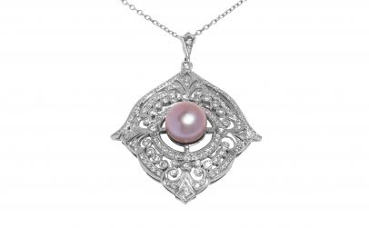 Lant cu pandantiv, aur, diamante, perla