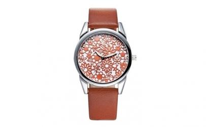 Ceas de dama V6 design floral maro