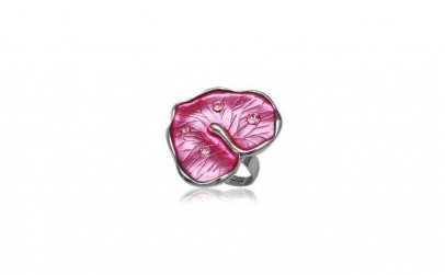 Inel in forma de frunza cu cristale si