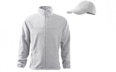 Hanorac alb din fleece, Jacket + sapca
