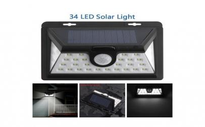 Lampa 34 LED incarcare solara cu senzor