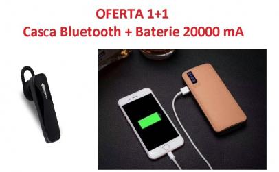 Casca Bluetooth + Baterie externa