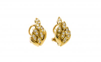 Cercei aur galben 18K cu diamante