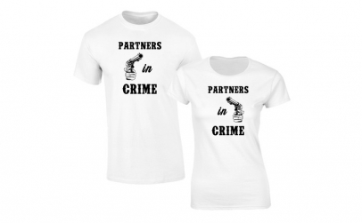 Set de tricouri albe Partners in Crime