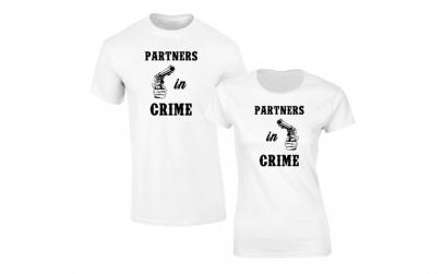 Set de tricouri albe Partners in Crime