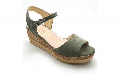 Sandale piele intoarsa verde