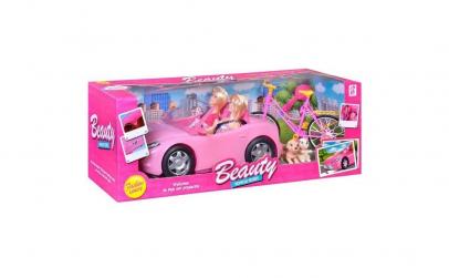 Masina roz cu 2 papusi