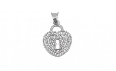 Pandantiv Inima cu Pietre , Argint 925,