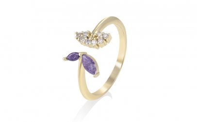 Inel placat cu aur Purple Crystal