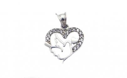 Pandantiv Inima cu Porumbel, Argint