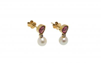 Cercei aur 14K, su perla si diamante