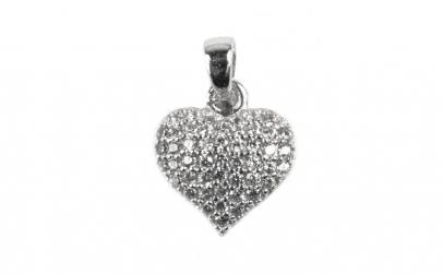 Pandantiv Inima cu Pietre, Argint 925,