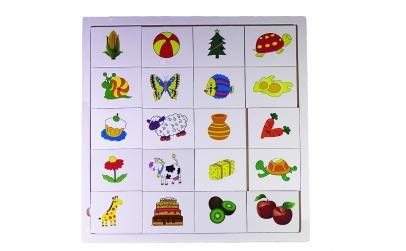 Puzzle din lemn cu fructe si legume