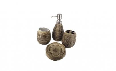 Set de baie, 4 piese, ceramica + CADOU