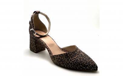 Pantofi decupati cu toc gros