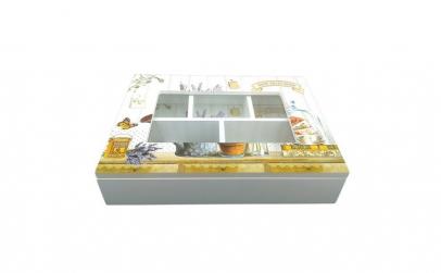 Cutie din lemn cu cinci compartimente