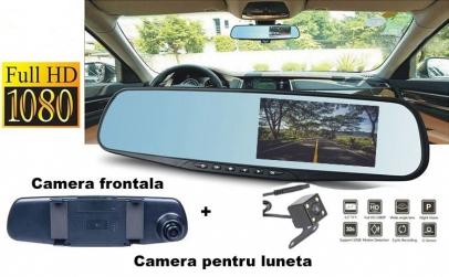 Oglinda auto cu 2 camere + Card 16Gb