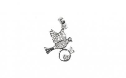 Pandantiv Porumbel cu inel, Argint 925,