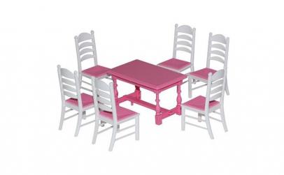 Masa+scaune pentru papusi, 7 piese/set,